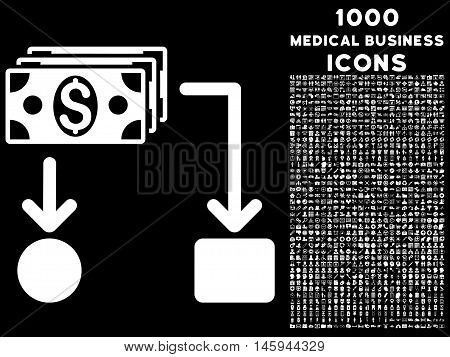 Cashflow vector icon with 1000 medical business icons. Set style is flat pictograms, white color, black background.