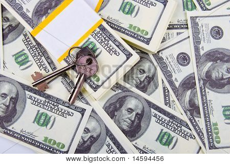 Keys Of One Hundred Dollar Bills Background
