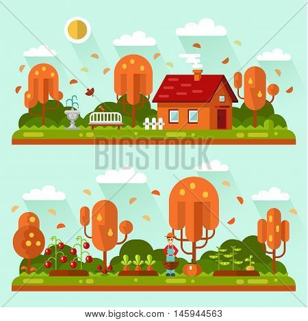 Flat design vector autumn landscape illustrations with house, bench, leaf fall, sun. Garden with beds of carrots, tomatoes, gardener. Farming, agricultural, harvest concept.