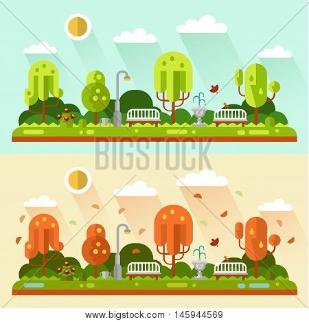 Flat design vector nature summer and autumn landscapes illustrations of park. Including bench, lantern, fountain, puddle, birds, leaf fall, trees, bush with flowers, sun.