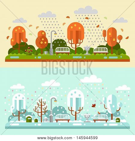 Flat design vector nature winter and autumn landscapes illustrations of park. Including bench, lantern, fountain, rain, puddle, birds, leaf fall, snowfall, snow, trees, bush.