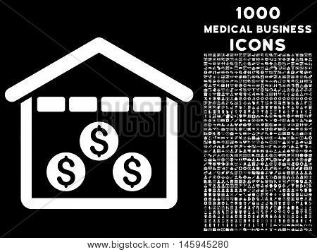Money Depository vector icon with 1000 medical business icons. Set style is flat pictograms, white color, black background.