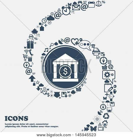 Bank Vector Icon In The Center. Around The Many Beautiful Symbols Twisted In A Spiral. You Can Use E