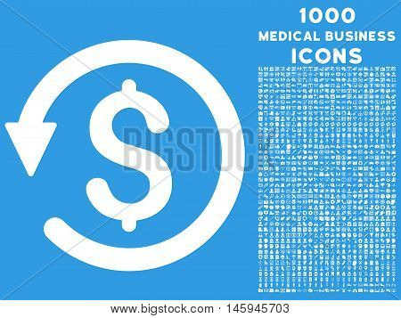 Chargeback vector icon with 1000 medical business icons. Set style is flat pictograms, white color, blue background.