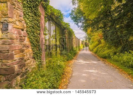 Path between autumnal forest and stone wall - Colorful scenery with a path that separates the forest from an old stone wall on a sunny day of autumn.