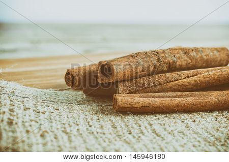 Cinnamon Sticks On Burlap Fabric With Faded Effect