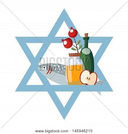 Rosh Hashana greeting card invitation with jewish star honey fish wine and apple. Vector illustration flat design.