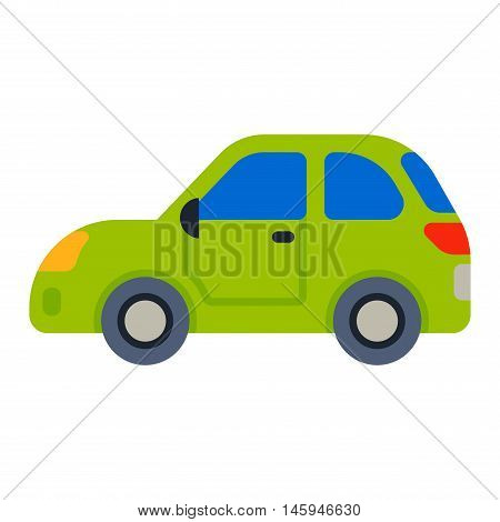 Green car sedan vehicle transport type design sign technology style vector. Generic sedan car design flat vector illustration isolated on white. Transport sedan object