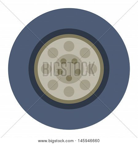 Transport car wheel drive service and car wheel vehicle element flat vector. Car wheel cartoon flat vector illustration on white background. Wheel car isolated