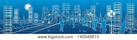 City life amazing panorama. People watching from the bridge to the night megalopolis, train move, infrastructure and transportation illustration, urban skyline, vector design art