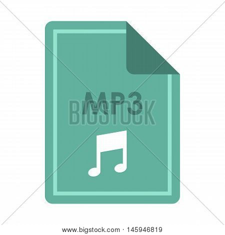 File MP3 icon in flat style isolated on white background. Document type symbol vector illustration