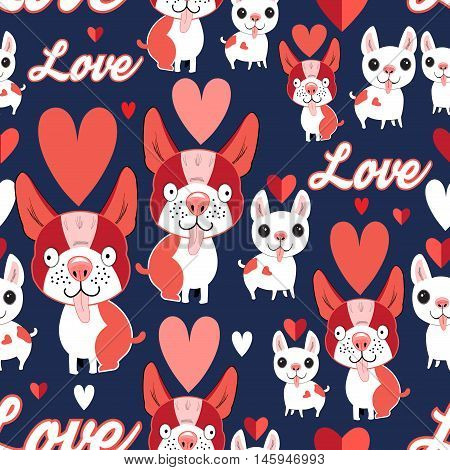 Seamless graphic pattern with funny puppies in love