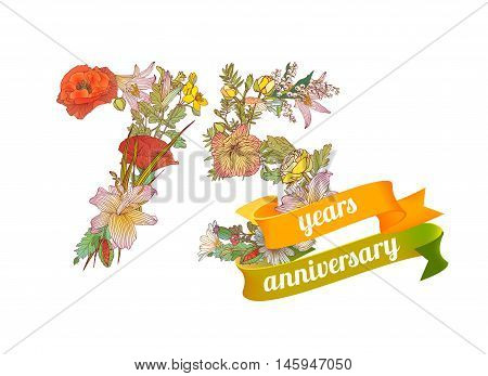 seventy five (75) years anniversary sign of floral digits