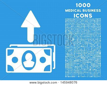 Spend Banknotes vector icon with 1000 medical business icons. Set style is flat pictograms, white color, blue background.