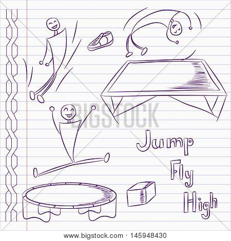 Hand drawn trampoline icons. Trampoline vector.. Vector illustration.