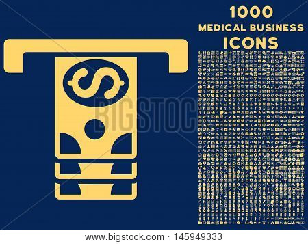 Banknotes Withdraw vector icon with 1000 medical business icons. Set style is flat pictograms, yellow color, blue background.