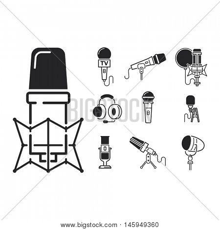 Different microphones types vector icons