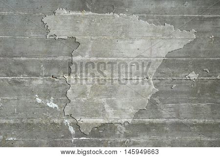 Grey map of Spain on reinforced concrete