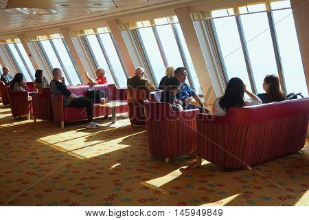 Dover, Kent, England, August 10 2016: Passengers In The Family Lounge Bar Area On The Cross Channel