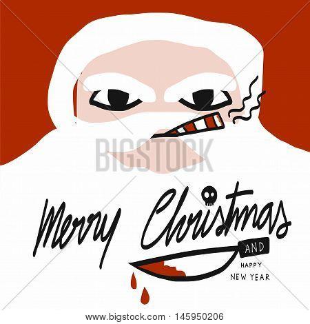 Bad Santa Merry Christmas with bloody knife cartoon illustration