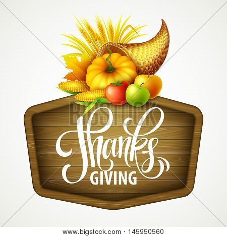 Illustration of a Thanksgiving cornucopia full of harvest fruits and vegetables. Fall greeting design. Autumn harvest celebration. Pumpkin and leaves. Vector illustration EPS10