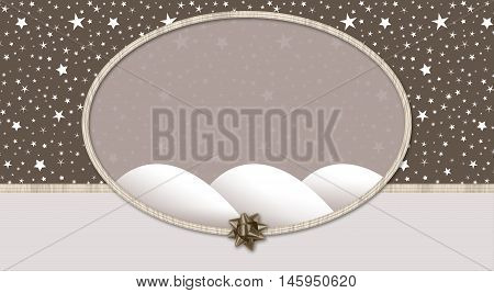 Starry night background with bow and ribbon oval frame in pastel colors for Christmas or gift wrap