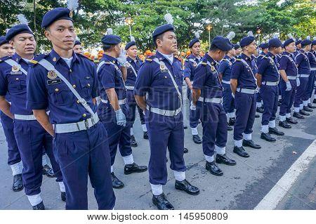 Kota Kinabalu,Sabah-Aug 31,2016:Royal Malaysian Police PDRM march during participate in National Day parade,celebrating the 59th anniversary of independence on 31st Aug 2016 at Kota Kinabalu,Sabah.