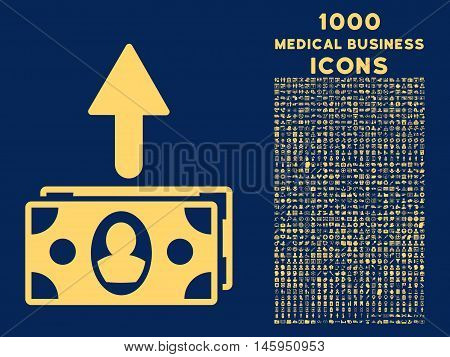 Spend Banknotes vector icon with 1000 medical business icons. Set style is flat pictograms, yellow color, blue background.