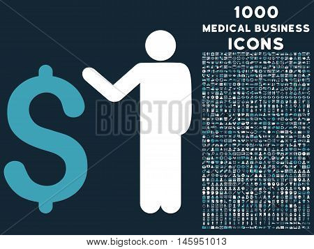 Banker vector bicolor icon with 1000 medical business icons. Set style is flat pictograms, blue and white colors, dark blue background.