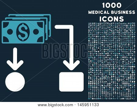 Cashflow vector bicolor icon with 1000 medical business icons. Set style is flat pictograms, blue and white colors, dark blue background.