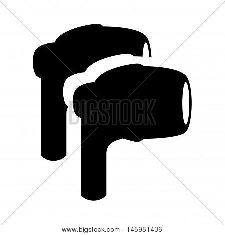 earphone buds headphone audio sound technology accessory device vector illustration