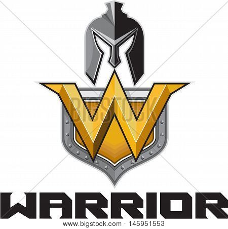 Illustration of a spartan warrior helmet and letter W on a shield crest and the word text Warrior set on isolated white background done in retro style.