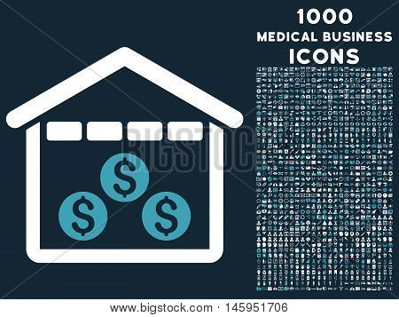 Money Depository vector bicolor icon with 1000 medical business icons. Set style is flat pictograms, blue and white colors, dark blue background.