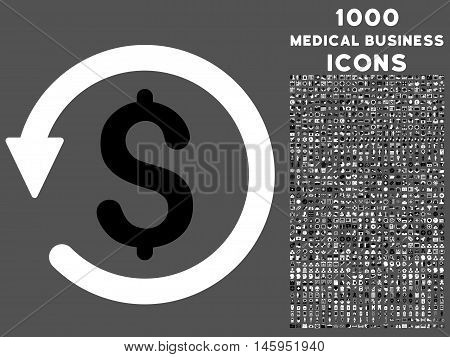 Chargeback vector bicolor icon with 1000 medical business icons. Set style is flat pictograms, black and white colors, gray background.