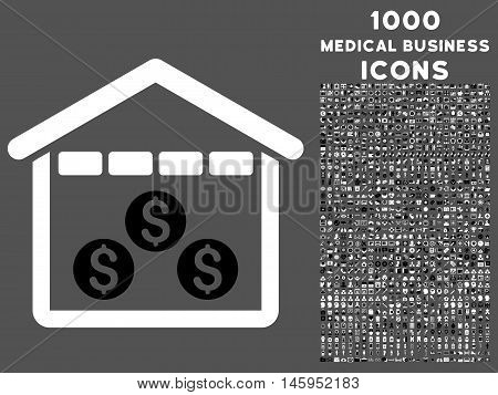 Money Depository vector bicolor icon with 1000 medical business icons. Set style is flat pictograms, black and white colors, gray background.