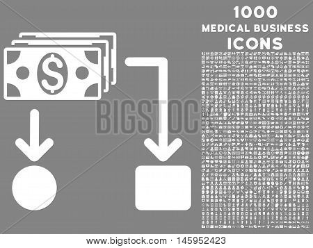 Cashflow vector icon with 1000 medical business icons. Set style is flat pictograms, white color, gray background.
