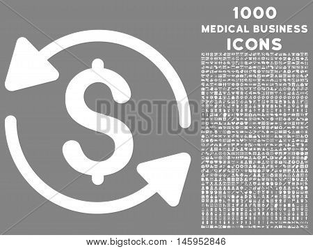 Money Turnover vector icon with 1000 medical business icons. Set style is flat pictograms, white color, gray background.