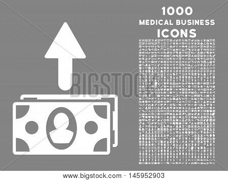 Spend Banknotes vector icon with 1000 medical business icons. Set style is flat pictograms, white color, gray background.