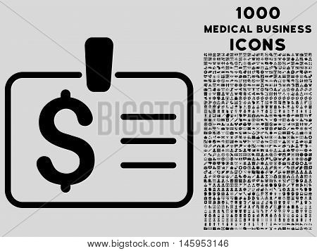 Dollar Badge vector icon with 1000 medical business icons. Set style is flat pictograms, black color, light gray background.