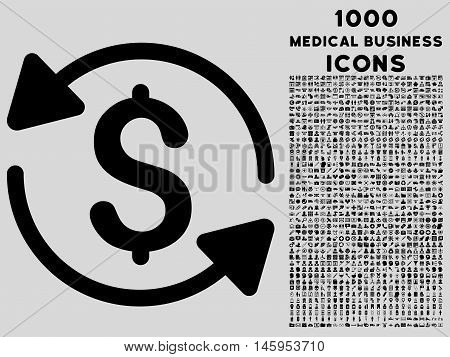 Money Turnover vector icon with 1000 medical business icons. Set style is flat pictograms, black color, light gray background.