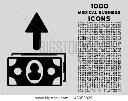 Spend Banknotes vector icon with 1000 medical business icons. Set style is flat pictograms, black color, light gray background.
