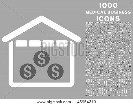 Money Depository vector bicolor icon with 1000 medical business icons. Set style is flat pictograms, dark gray and white colors, silver background.