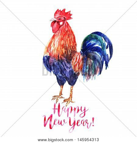 Watercolor color fire cock on white background with text Happy New Year!. Chinese calendar Zodiac for 2017 New Year of rooster. Isolated bird and text in watercolor.