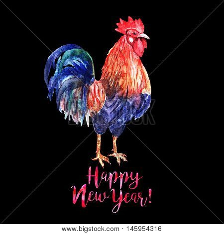 Watercolor color fire cock on black background with red text Happy New Year!. Chinese calendar Zodiac for 2017 New Year of rooster. Isolated bird and text in watercolor.
