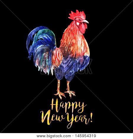 Watercolor color fire cock on black background with yellow text Happy New Year!. Chinese calendar Zodiac for 2017 New Year of rooster. Isolated bird and text in watercolor.