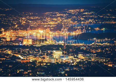 Illuminated Oslo Norway at Night. City of Oslo Night Panorama.