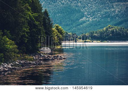 The Fjord Place. Norwegian Fjord Summer Scenery. Norway Europe.