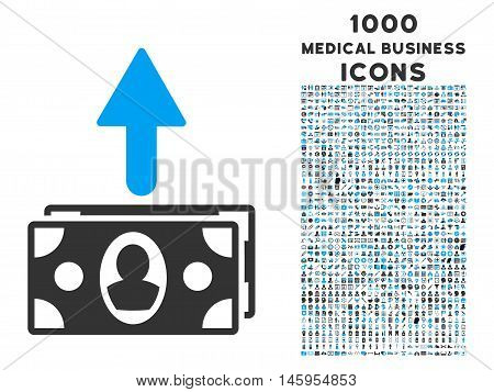 Spend Banknotes vector bicolor icon with 1000 medical business icons. Set style is flat pictograms, blue and gray colors, white background.