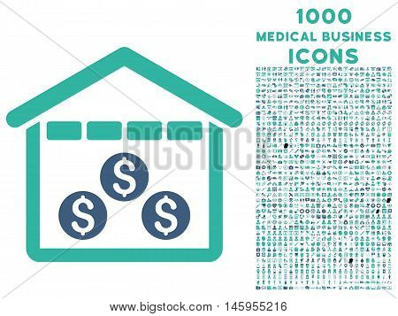 Money Depository vector bicolor icon with 1000 medical business icons. Set style is flat pictograms, cobalt and cyan colors, white background.