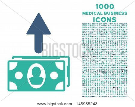 Spend Banknotes vector bicolor icon with 1000 medical business icons. Set style is flat pictograms, cobalt and cyan colors, white background.